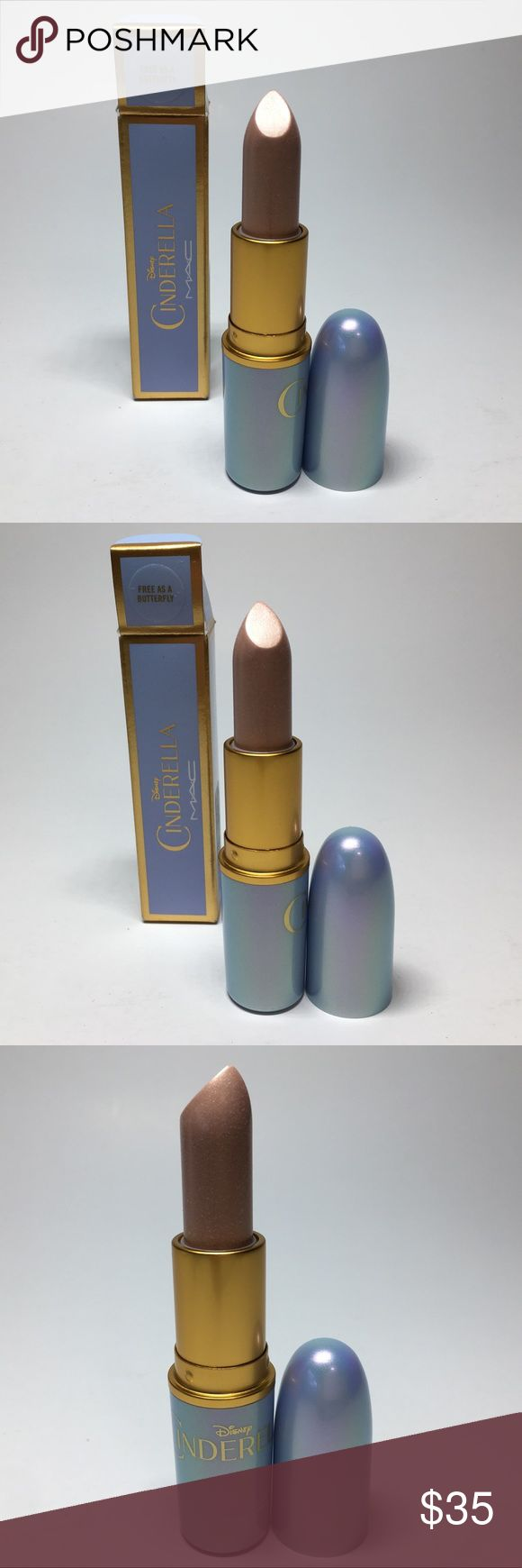 NIB Mac Free as a Butterfly Cinderella 100% Authen NIB Mac Cosmetics  Free as a Butterfly Lustre Lipstick  Disney Cinderella  Batch code: A94 100% Authentic  Brand new. Never used or tested.  *Please see pictures of white coating. For some reason Lustres develop this coating over time.  Please see pictures as this is the actual item you will receive. Please feel free to ask any questions and I will get back to you as soon as possible. Thank you! MAC Cosmetics Makeup Lipstick