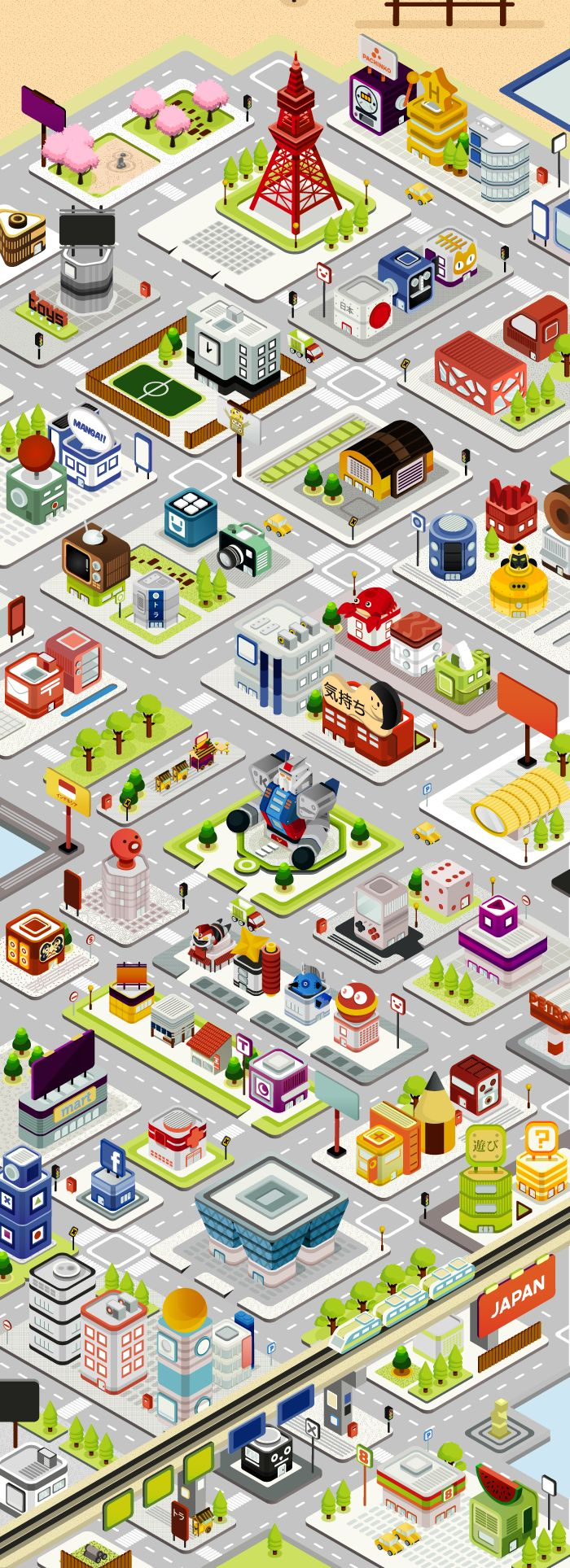 An unpublished project, circa 2010-2011. Making  an isometric view of city for a website. Inspired by Japan. All buildings were created one by one with special facade.