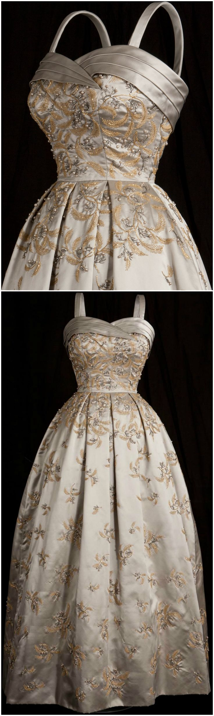 Evening gown worn by Queen Elizabeth II. Designed by Hardy Amies. 1958. Photos © Her Majesty Queen Elizabeth II 2013. Image Historic Royal Palaces / Robin Forster. CLICK THROUGH FOR BIGGER IMAGES.