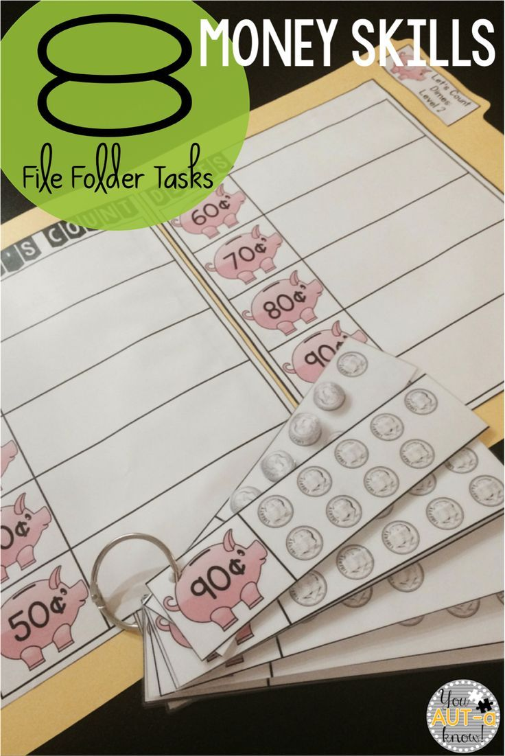 8 File Folder Tasks for Beginning Money Skills.  These file folder tasks help student learn to count the value of like coins.
