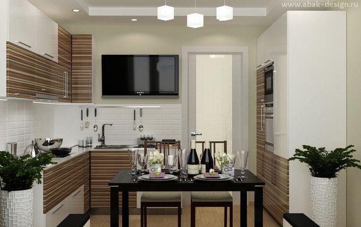 Готовые дизайн-проекты квартир в домах серии П-44Т - Двушка распашонка 67 м2 - Кухня 12,7 м2