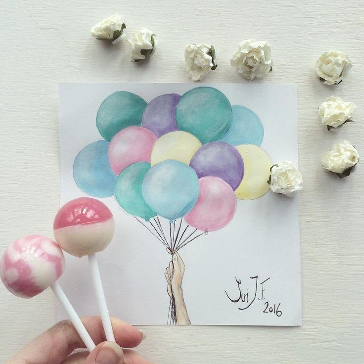 Pastel balloons painting
