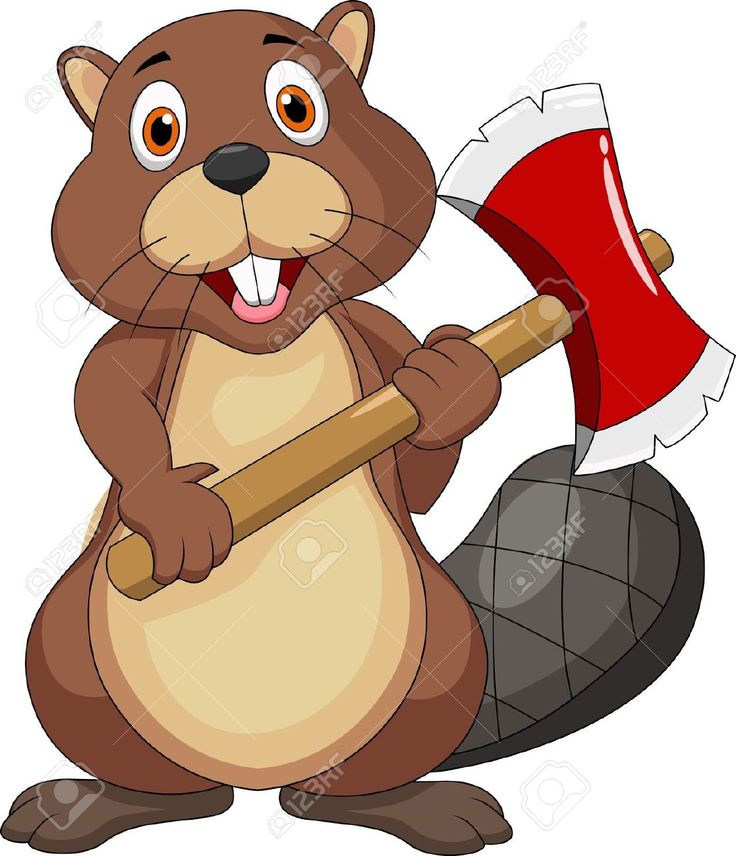 Beaver Cartoon Holding Axe Royalty Free Cliparts, Vectors, And ...