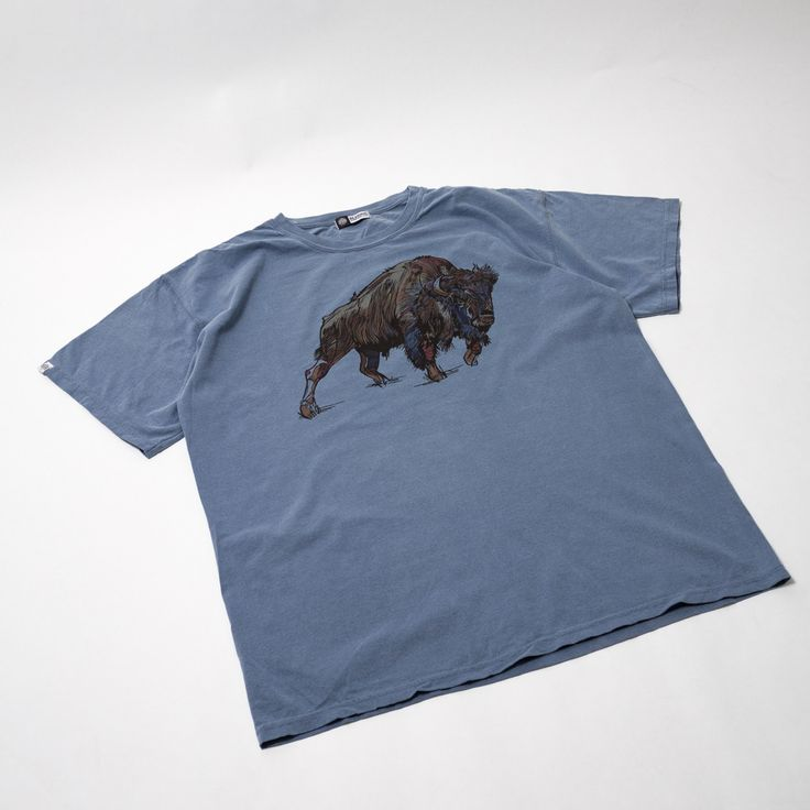 Buffalo Washed Blue T-shirt - Original artwork by Luke Dixon