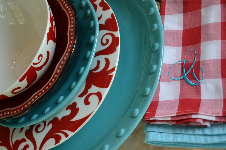 Turquoise and red tablescape