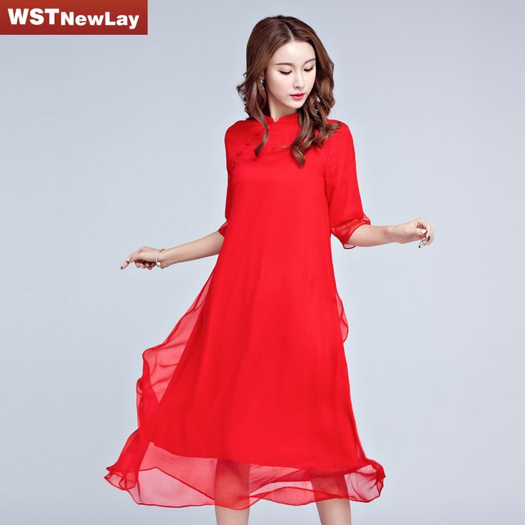 WSTNewlay Red Summer Dress 2017 Women Party Chiffon Sexy Dresses Chinese Clothes China Plus Size Spring Elegant Dresses