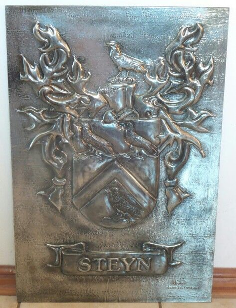 Very large family crest / coat of arms . Handcrafted Pewter Art by Hanli Delport