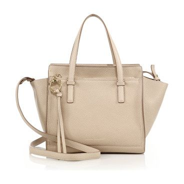 """Amy mini soft leather tote by Salvatore Ferragamo. Miniature tote crafted of rich pebbled leather. Double top handles, 4.5"""" drop. Removable, adjustable crossbody strap,..."""
