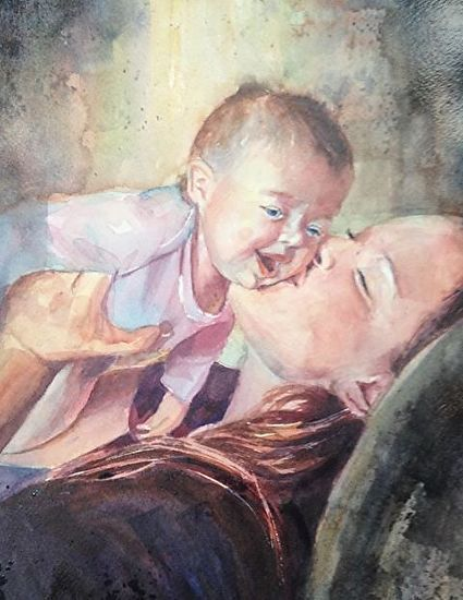 Motherly Love by gabriele baber Watercolor ~ 14 x 11