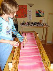 Using the wet-on-dry technique to make your own hand-painted silk scarves.