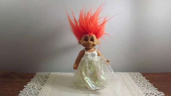 Vintage Troll Doll with Brown Eyes and Outrageous Orange Hair