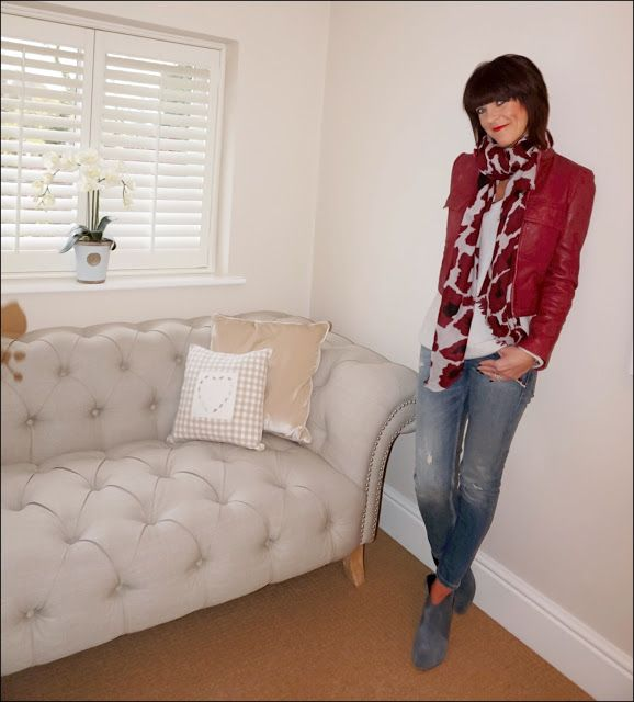 My Midlife Fashion, mango red leather jacket, mercy and delta leopard print scarf, boden cashmere relaxed jumper, zara distressed skinny jeans, hush thornton ankle boots