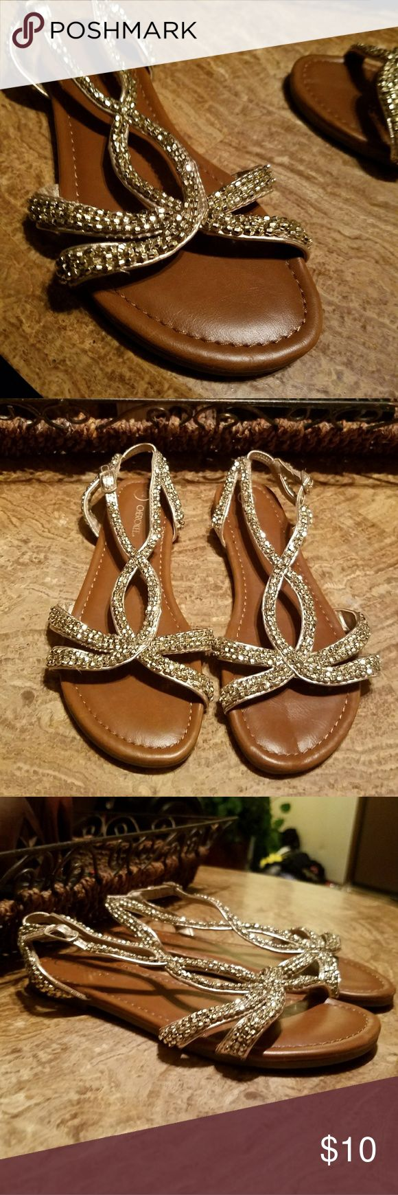 Girls Gold Rhinestone Sandals Preowned in good condition Cherokee brand Size 2 Cherokee Shoes Sandals & Flip Flops