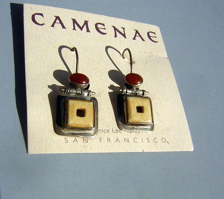 Janice Lee Ripley Earrings CAMENAE Handmade Sterling Dangles Carnelian & Carved Bone Vintage Minimalist Artisan Signed JLR - New Old Stock by DecadencePast on Etsy