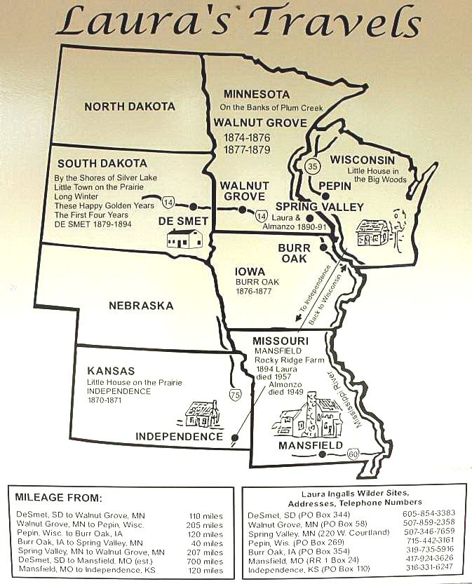 Laura Ingalls Wilder map. My imagination took this journey years ago. I slipped away to all of these places. To be 9 again... :)