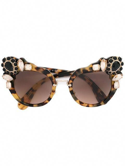 0835cd86f5 Shop Miu Miu Eyewear Runway stone-embellished sunglasses.  MiuMiu