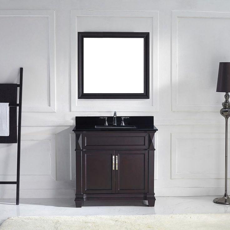 Virtu USA Victoria 36-inch Single Bathroom Vanity Set with Faucet Options (Black - brushed nickel finish, square), Size Single Vanities