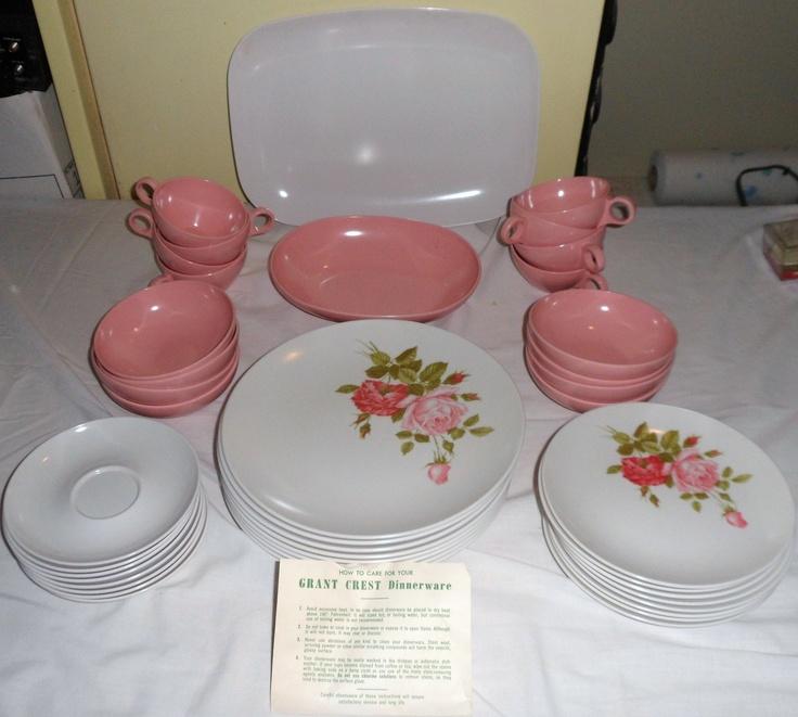42 pc Vintage Grant Crest Prolon Melmac Dishes in Beverly Rose Melamine SEAT-8 & 109 best Melmac images on Pinterest | Vintage dishes Vintage ...
