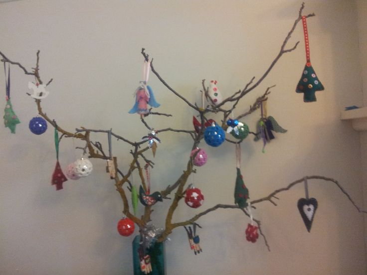 Every year the kids and I find interesting branches and bring them home to form our Christmas tree.  We decorate the tree with hand made items we have crafted ourselves.