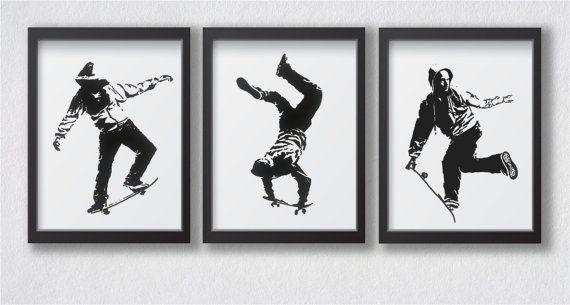 Set di bianco e nero di skateboard parete 3 arti / Skater camera Wall Decor / sport estremi camera decorazione murale / originale regalo Skateboarder