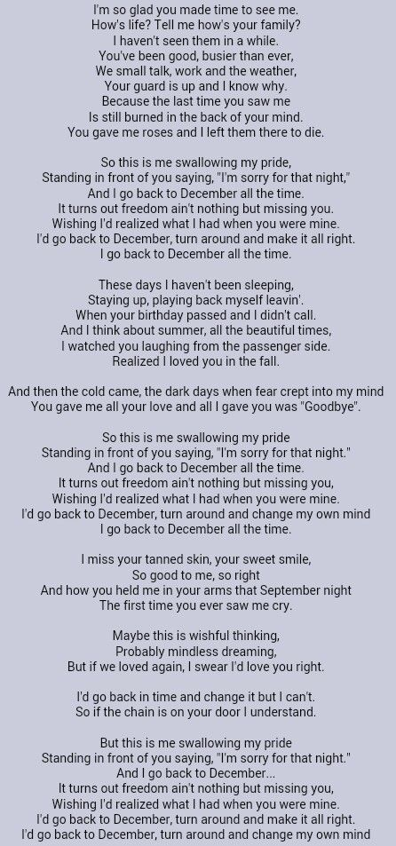 Taylor Swift . Back to December