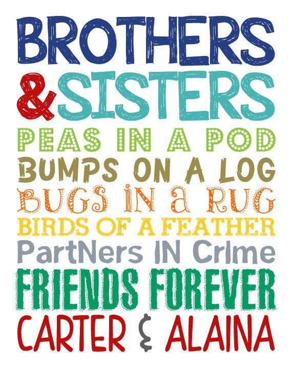 Brothers & Sisters. Sibling Wall Art. Kids by LittleLifeDesigns