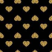 Patrón transparente con corazones de purpurina de oro sobre fondo negro — Vector de stock