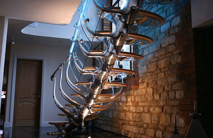 These stairs look more like the bones of a robot than a means of upstairs travel.