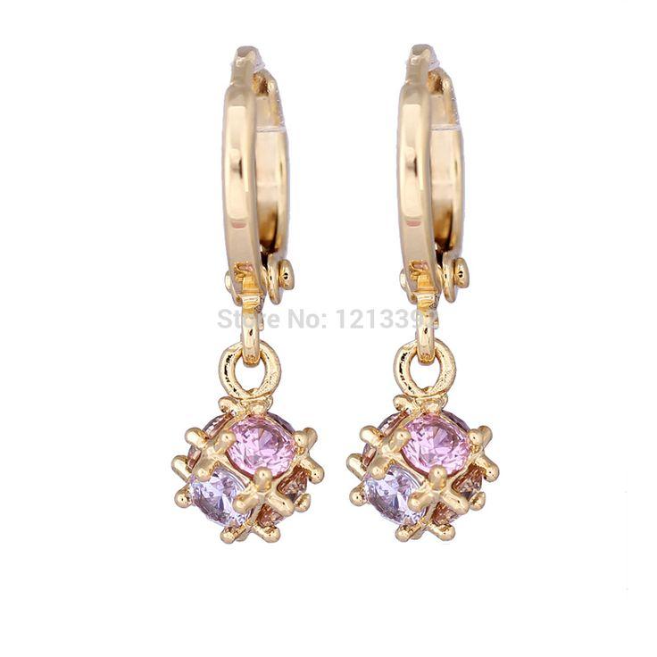 Популярные женщины позолоченные серьга клипсы уха шаровидных кристалл мотаться серьги красочные BS88