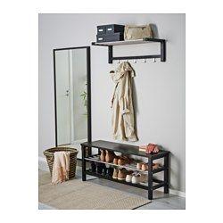 TJUSIG Bænk med skoopbevaring, sort - sort - 108x50 cm - IKEA