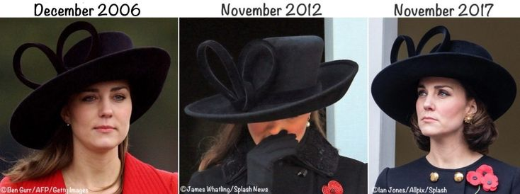 Duchess Catherine at the November 2017 Remembrance Sunday ceremonies. The annual event honors servicemen and women killed in all conflicts since the First World War. Shown here, Kate in prior years as well as this year.