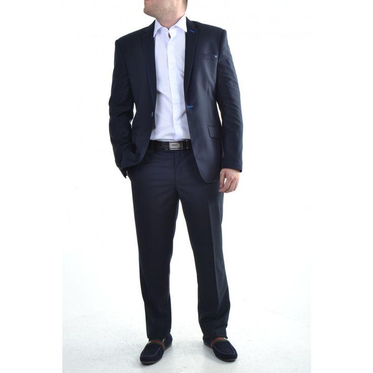 Pánsky štepovaný oblek - tmavomodrý