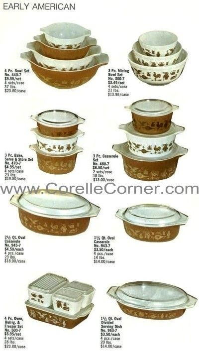 """1970 Catalogue - 4 major Patterns were listed in the 1970 Pyrex Ware dealer catalogue: Daisy, Early American, Horizon Blue, Verde.  Almost every item available is pictured. *****EARLY AMERICAN There is also a 404, completing the 400-series set.  Bakeware sets in graduated solid colours also exist & they include: 1½ Qt loaf pan (913)*, 2 Qt square pan (922), 3 Qt rectangular pan (933).  Price lists & packaging also call the bakeware set """"Earth Tones"""" instead of Early American."""