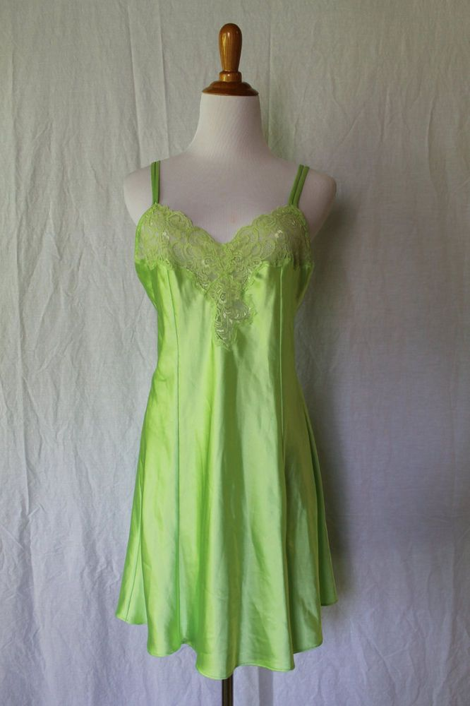 VINTAGE VICTORIA'S SECRET Lime Green Slipper Satin Chemise Nightgown  trim M #VictoriasSecret
