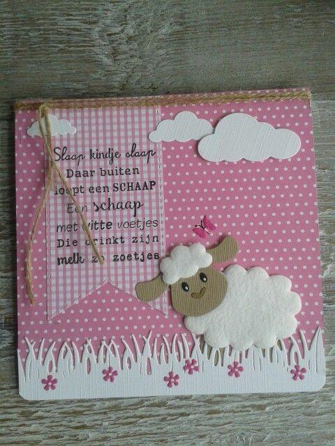 Babykaartje met schaapje van Eline, gemaakt door Diana