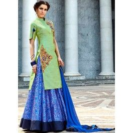 Mint and Blue Printed and Embroidered Lehenga
