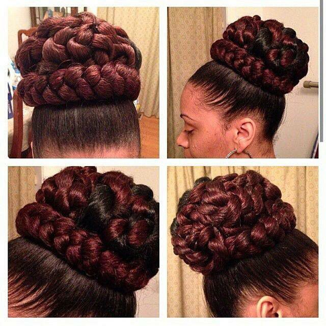 Beautiful faux bun using kanekalon braiding hair! Love the colours