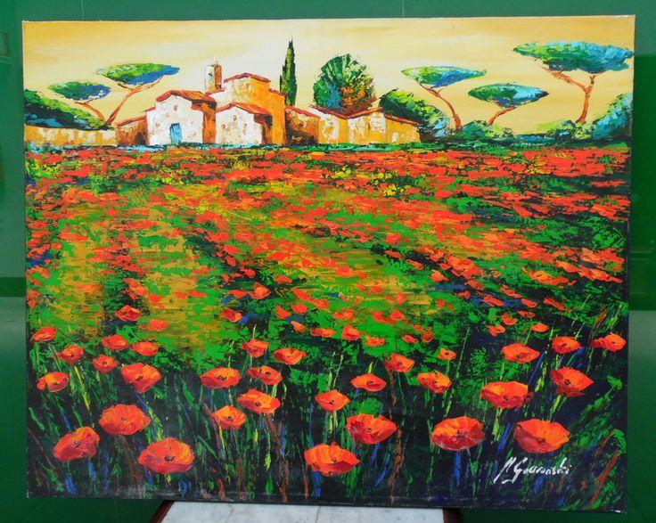 Paesaggio provenzale - acrilico su tela contemporaneo colori molto accesi 81 x 65,5 cm