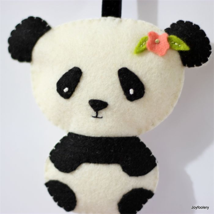 Cute Felt Panda Key Ring Bag Tag by Joyfoolery