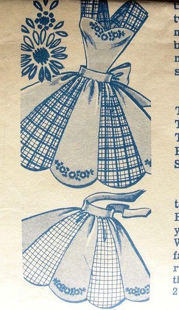 1950s  BIB APRON or HALF APRONS PATTERN PETAL SHAPE