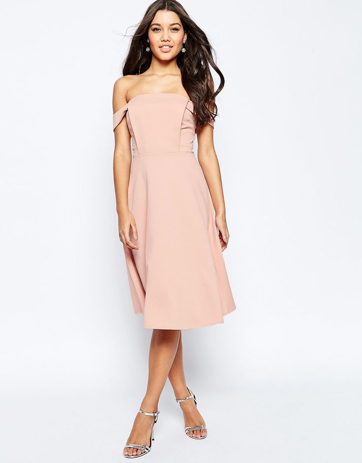 Image 1 of ASOS Midi Dress with Off Shoulder and Full Skirt