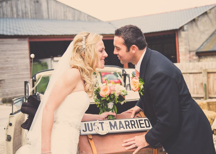 Just Married, car reg plate and vintage details on the bridal car. Written With Light Photography.