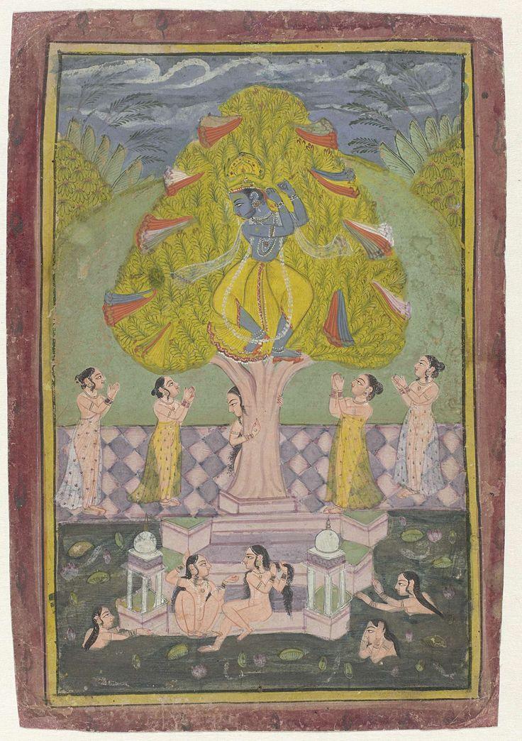Anonymous | Krishna heeft de kleren van de herderinnen gestolen, Anonymous, c. 1780 | Krishna zit in een grote boom, zijn armen in een fluitspelende positie, rondom hem de kleding die hij van de herderinnen heeft gestolen die smekend onder de boom staan; de andere herderinnen zitten op een bordes bij een rivier, waarin nog een paar dames rondzwemmen, een naakte dame verschuilt zich achter de boom. Rond de voorstelling een gele bies in zwarte kaderlijnen en een bredere paarsbruine rand.