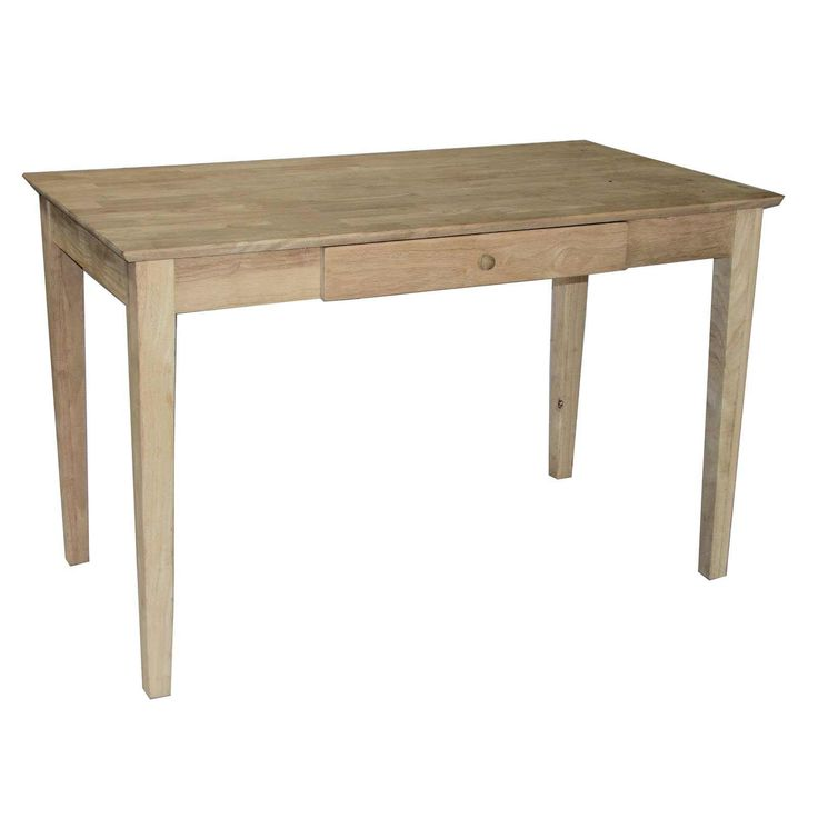 concepts solid hardwood unfinished writing desk with drawer enjoy the simple things in life with this writing desk with drawer