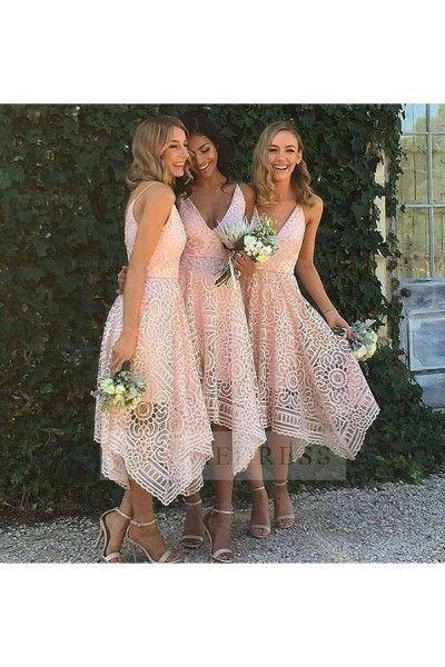 Unique Pink High Low Lace V Neck Bridesmaid Dress