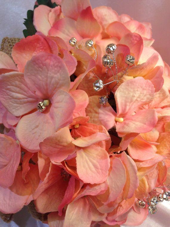 Ramo bodas rústicas bouquet de color Coral por ElianasTreasures