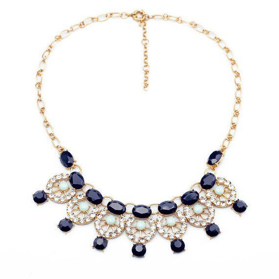 Navy Bubble Bib Pendant Necklace, Statement Necklace, Choker Necklace, Outfit Necklace, Fashion Necklace