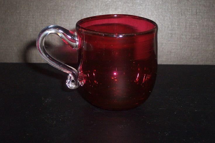Georgian cranberry glass cup...rough pontil