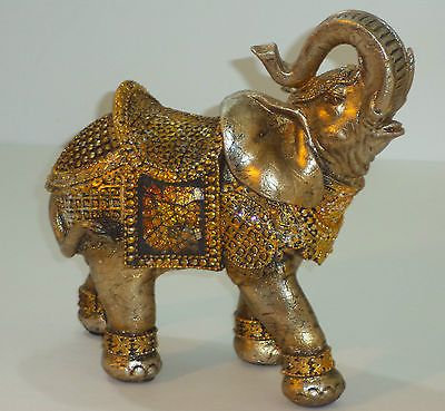 """Majestic Gold Mosaic """"Trunk Up"""" Elephant Figurine Collectible Home Office Decor"""