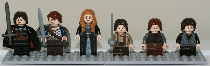 LEGO mini-figures, Stark children: Jon Snow, Robb, Sansa, Arya, Bran, and Rickon
